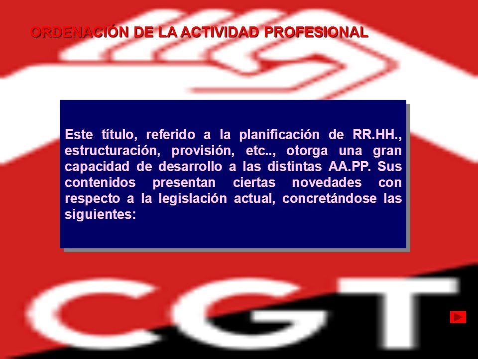 ORDENACIÓN DE LA ACTIVIDAD PROFESIONAL