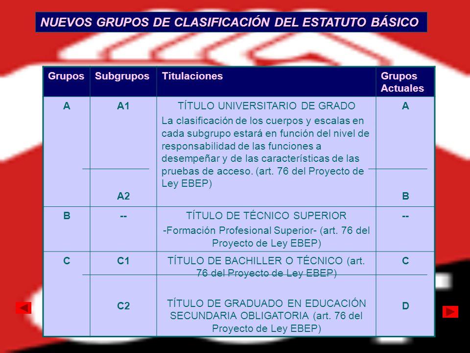 NUEVOS GRUPOS DE CLASIFICACIÓN DEL ESTATUTO BÁSICO