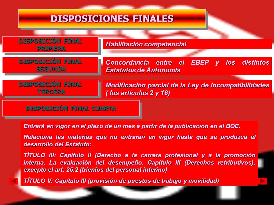 DISPOSICIONES FINALES DISPOSICIÓN FINAL CUARTA