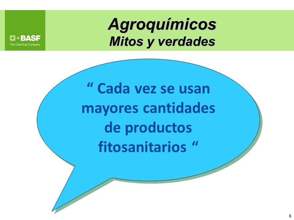 Cada vez se usan mayores cantidades de productos fitosanitarios