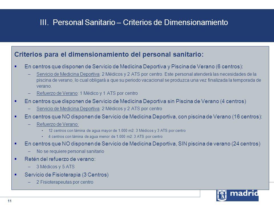 III. Personal Sanitario – Criterios de Dimensionamiento