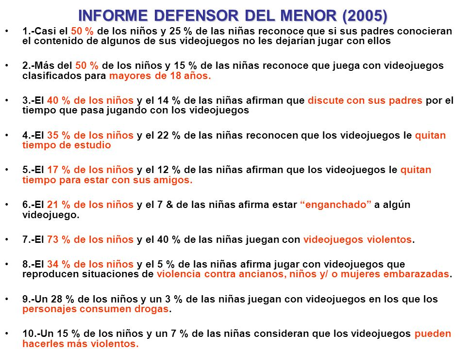 INFORME DEFENSOR DEL MENOR (2005)