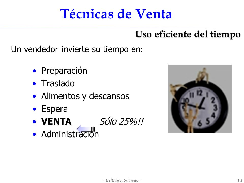 Técnicas de Venta Uso eficiente del tiempo Preparación Traslado