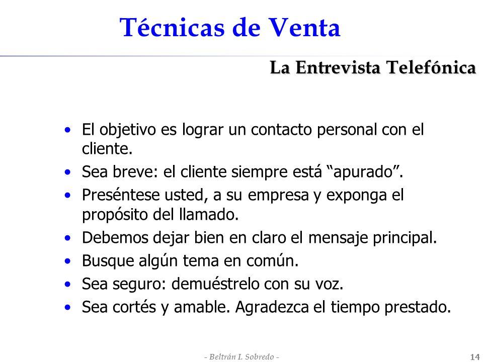 Técnicas de Venta La Entrevista Telefónica
