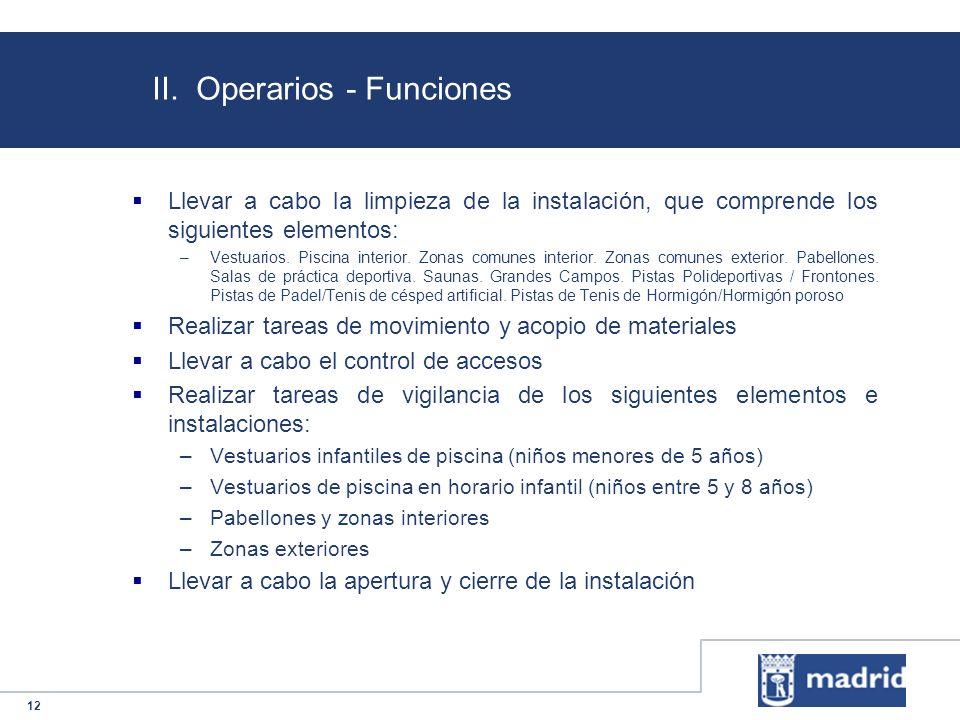 II. Operarios - Funciones