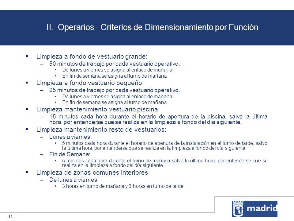 II. Operarios - Criterios de Dimensionamiento por Función