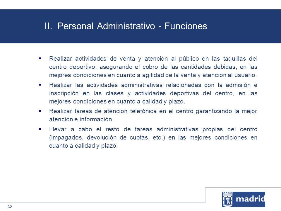 II. Personal Administrativo - Funciones