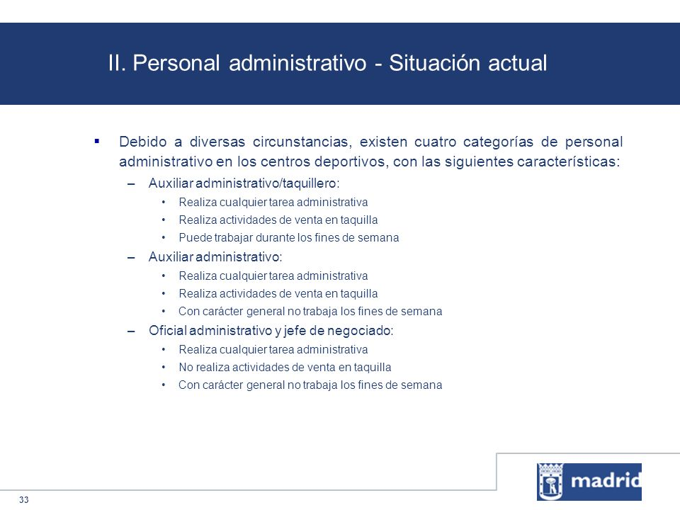 II. Personal administrativo - Situación actual