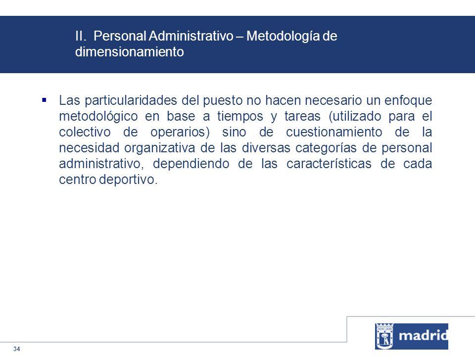 II. Personal Administrativo – Metodología de dimensionamiento