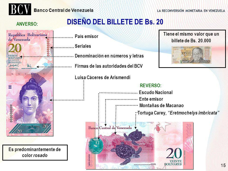 DISEÑO DEL BILLETE DE Bs. 20 Es predominantemente de color rosado