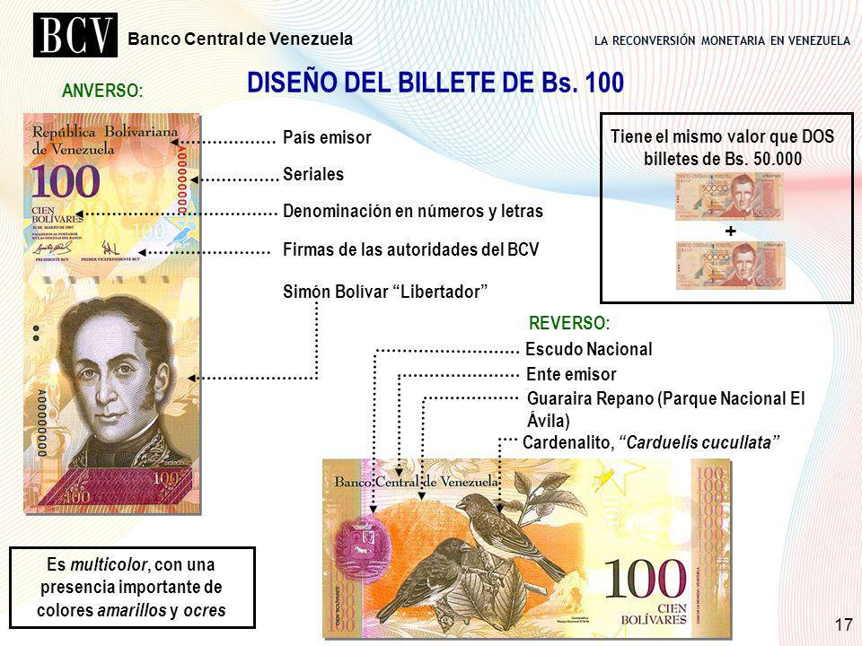 DISEÑO DEL BILLETE DE Bs. 100
