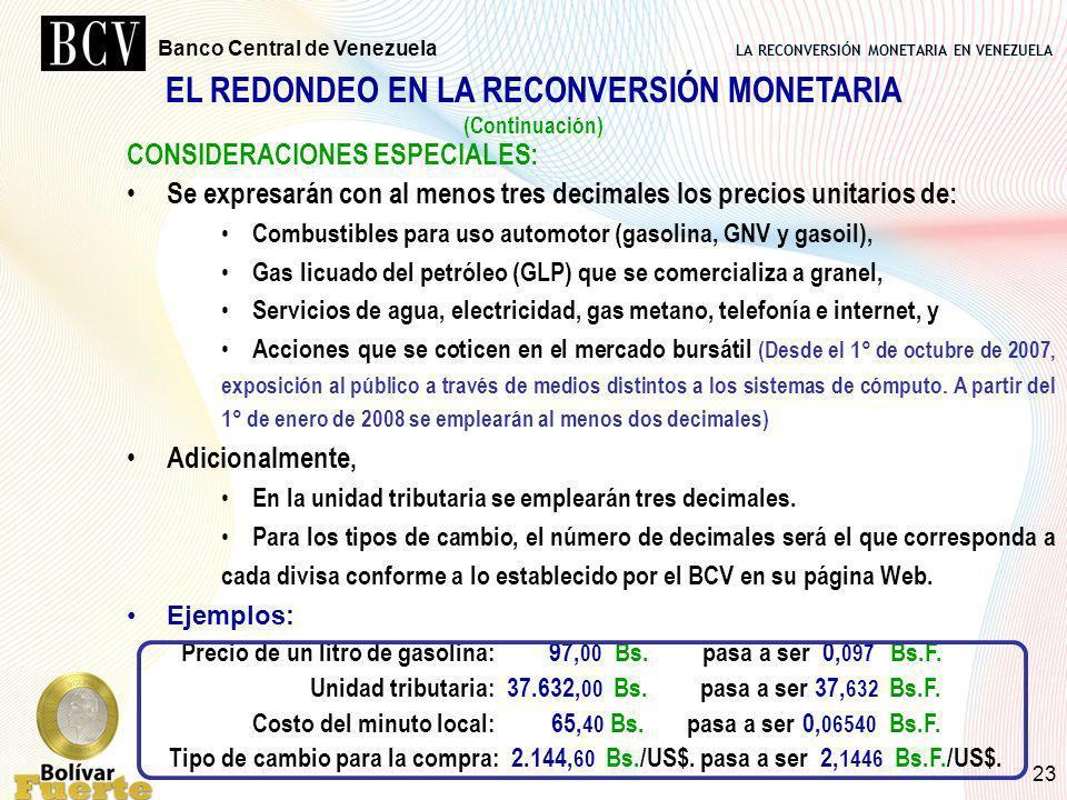 EL REDONDEO EN LA RECONVERSIÓN MONETARIA
