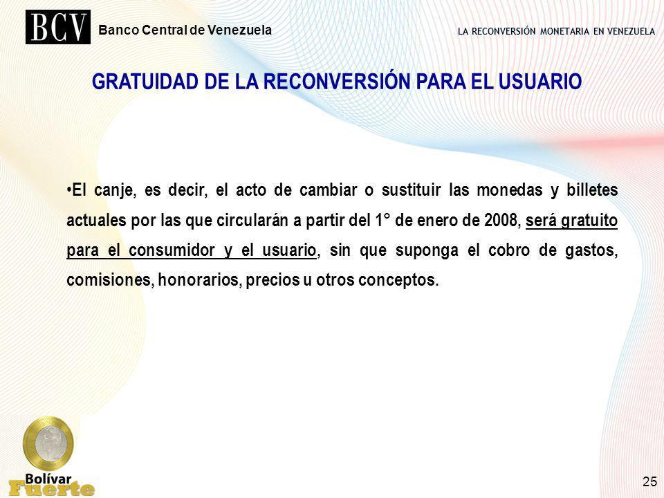 GRATUIDAD DE LA RECONVERSIÓN PARA EL USUARIO