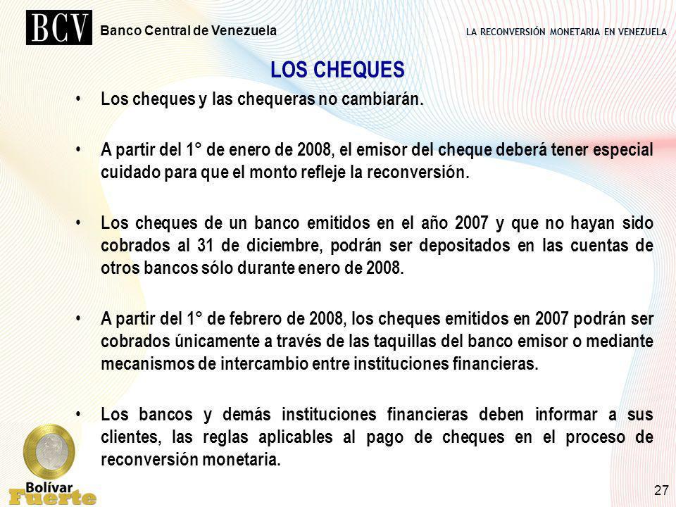 LOS CHEQUES Los cheques y las chequeras no cambiarán.
