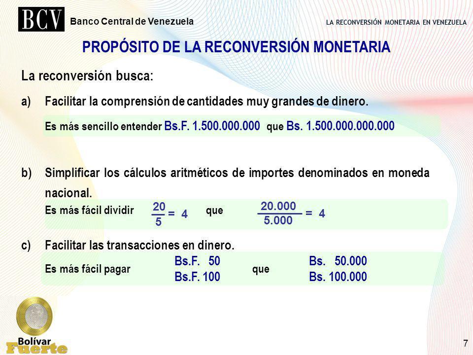 PROPÓSITO DE LA RECONVERSIÓN MONETARIA