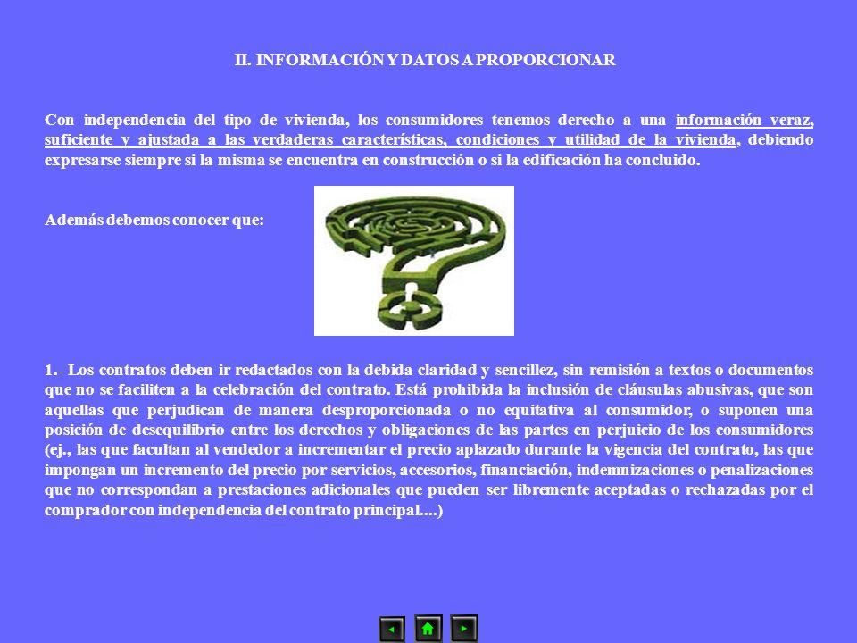 II. INFORMACIÓN Y DATOS A PROPORCIONAR