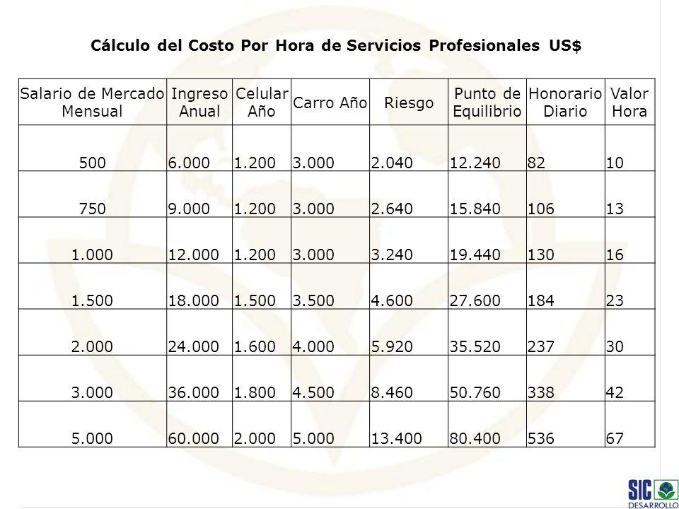 Cálculo del Costo Por Hora de Servicios Profesionales US$