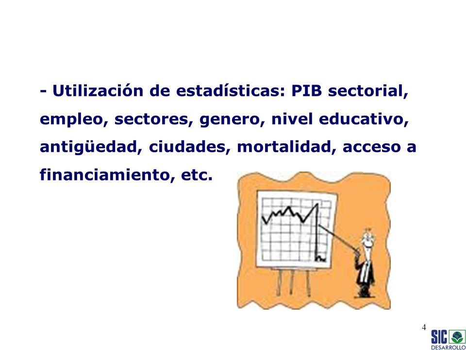 - Utilización de estadísticas: PIB sectorial, empleo, sectores, genero, nivel educativo, antigüedad, ciudades, mortalidad, acceso a financiamiento, etc.