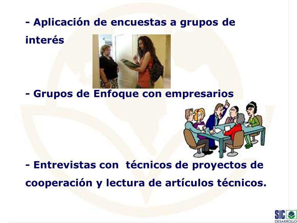 - Aplicación de encuestas a grupos de interés - Grupos de Enfoque con empresarios - Entrevistas con técnicos de proyectos de cooperación y lectura de artículos técnicos.