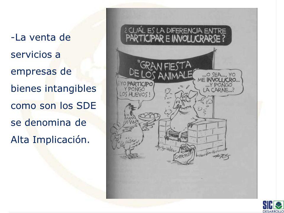 -La venta de servicios a empresas de bienes intangibles como son los SDE se denomina de Alta Implicación.