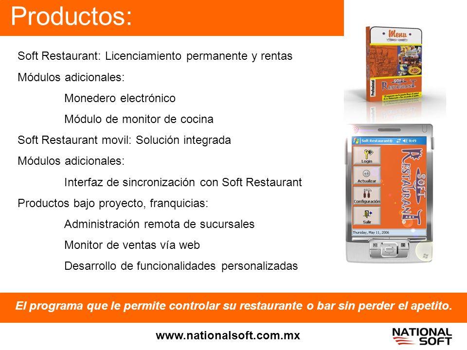 Productos: Soft Restaurant: Licenciamiento permanente y rentas