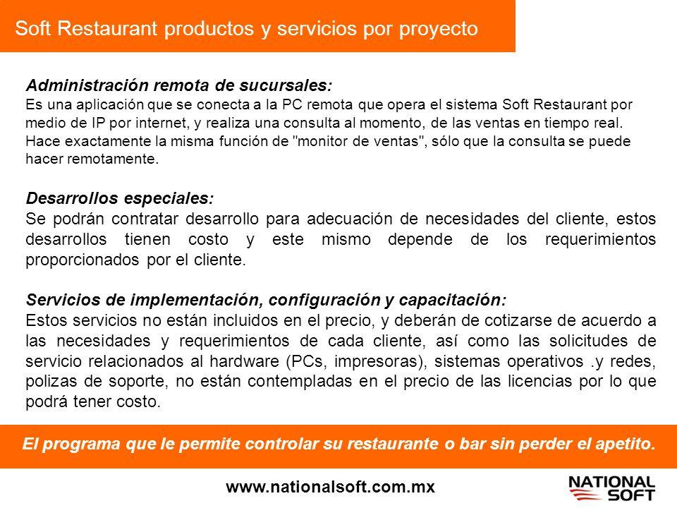 Soft Restaurant productos y servicios por proyecto
