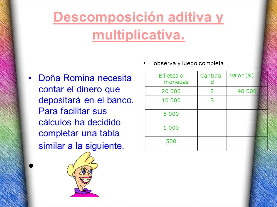 Descomposición aditiva y multiplicativa.