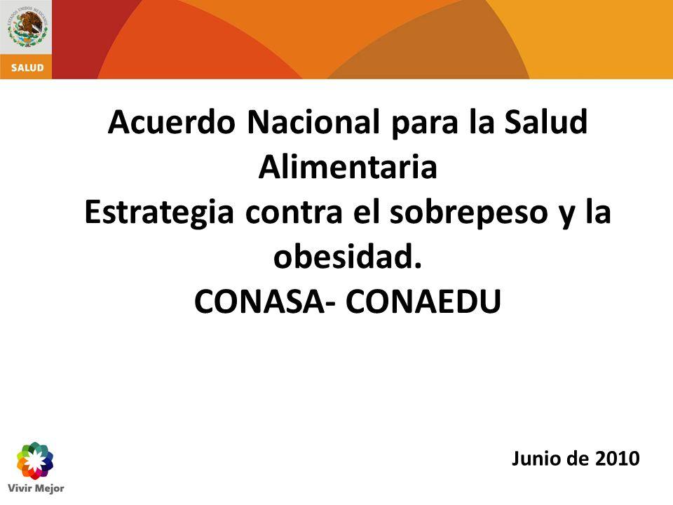 Acuerdo Nacional para la Salud Alimentaria Estrategia contra el sobrepeso y la obesidad. CONASA- CONAEDU