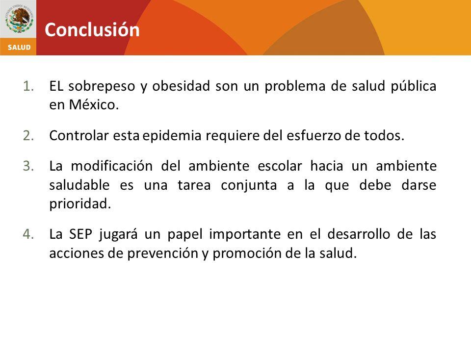 Conclusión EL sobrepeso y obesidad son un problema de salud pública en México. Controlar esta epidemia requiere del esfuerzo de todos.