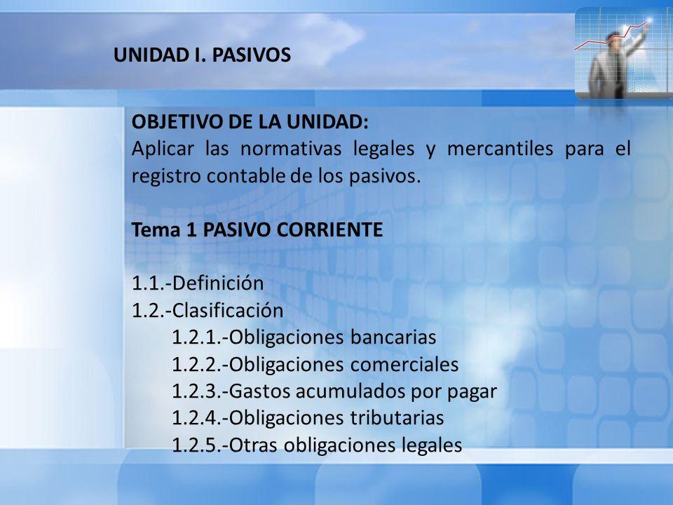 UNIDAD I. PASIVOS OBJETIVO DE LA UNIDAD: Aplicar las normativas legales y mercantiles para el registro contable de los pasivos.