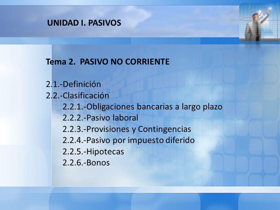 UNIDAD I. PASIVOS Tema 2. PASIVO NO CORRIENTE. 2.1.-Definición. 2.2.-Clasificación. 2.2.1.-Obligaciones bancarias a largo plazo.