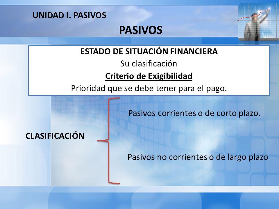 ESTADO DE SITUACIÓN FINANCIERA Criterio de Exigibilidad