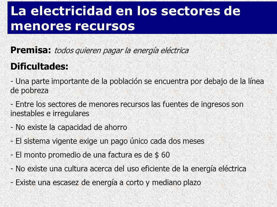 La electricidad en los sectores de menores recursos