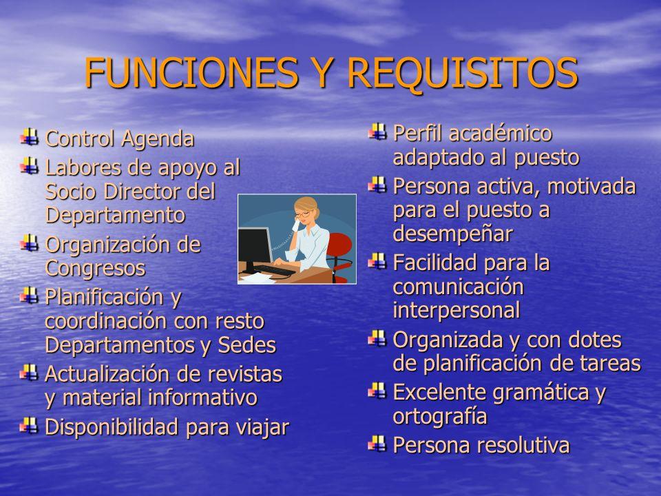 FUNCIONES Y REQUISITOS