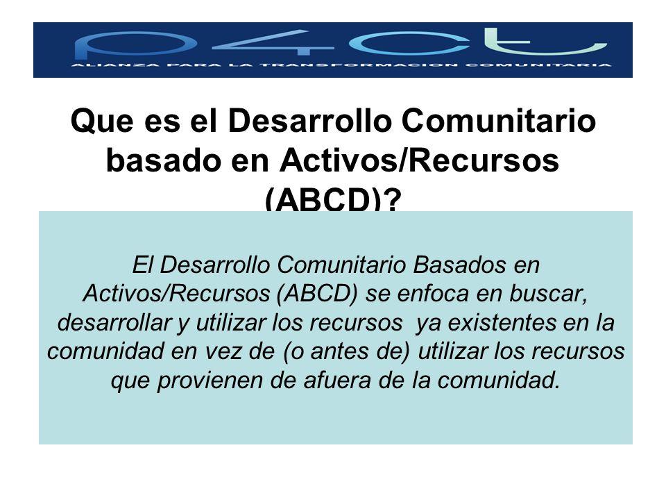 Que es el Desarrollo Comunitario basado en Activos/Recursos (ABCD)