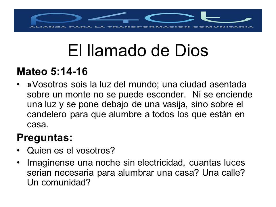 El llamado de Dios Mateo 5:14-16 Preguntas: