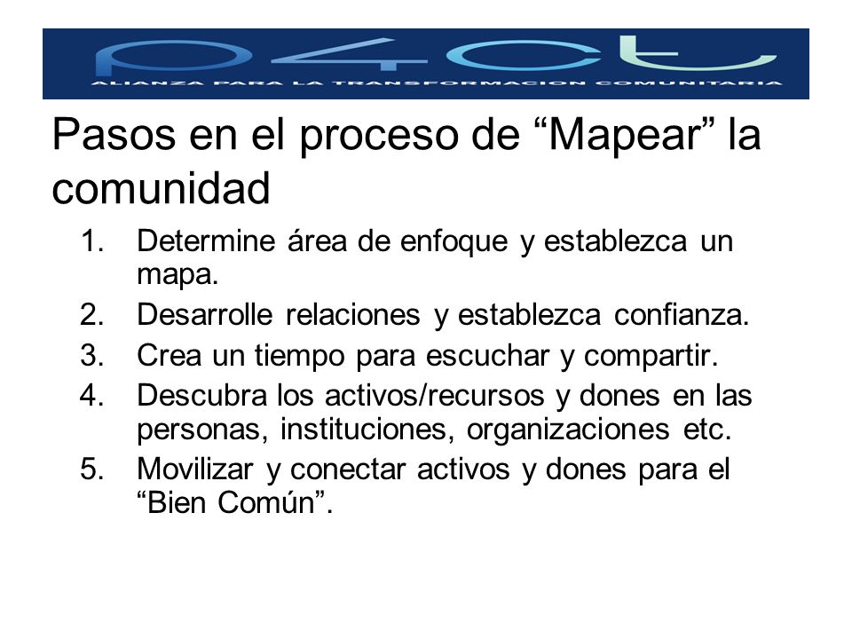 Pasos en el proceso de Mapear la comunidad