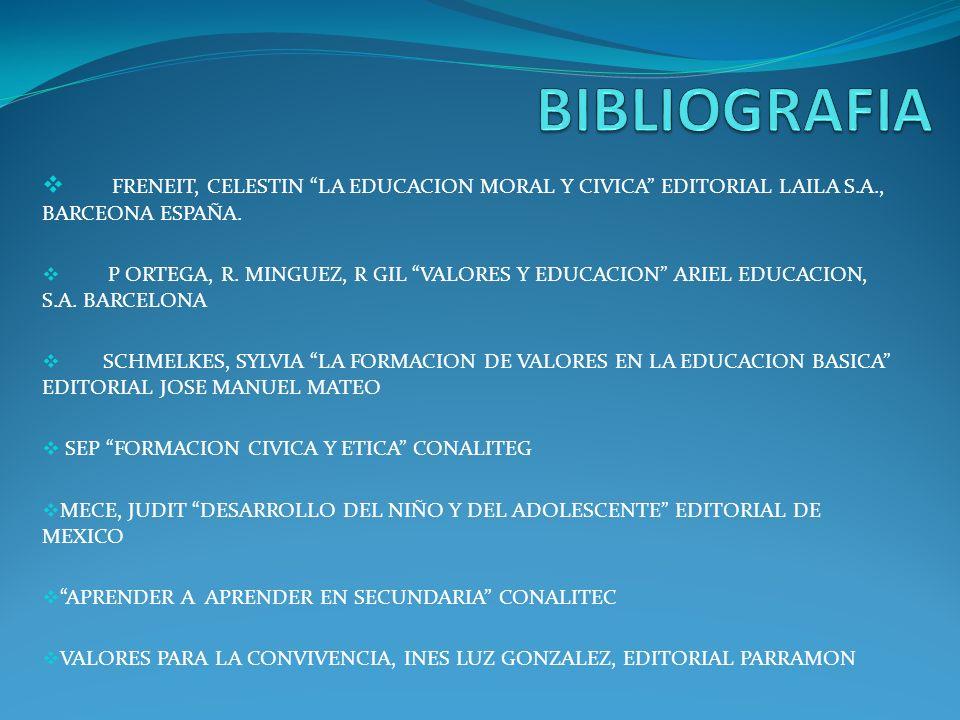BIBLIOGRAFIA FRENEIT, CELESTIN LA EDUCACION MORAL Y CIVICA EDITORIAL LAILA S.A., BARCEONA ESPAÑA.