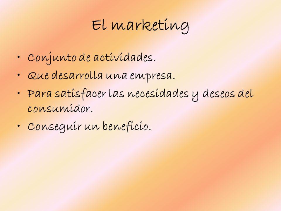 El marketing Conjunto de actividades. Que desarrolla una empresa.