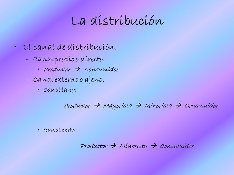 La distribución El canal de distribución. Canal propio o directo.