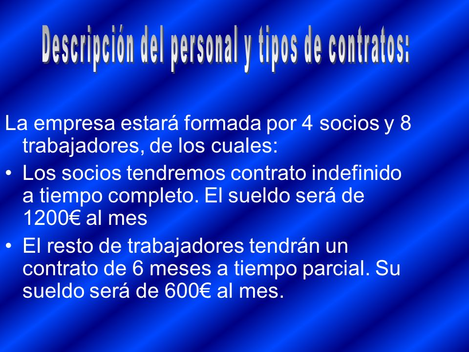 Descripción del personal y tipos de contratos: