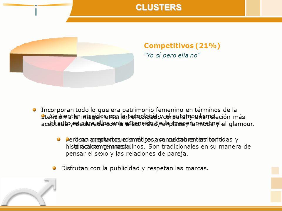 CLUSTERS Competitivos (21%) Yo sí pero ella no