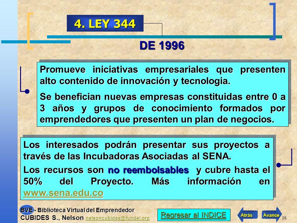 4. LEY 344 DE 1996. Promueve iniciativas empresariales que presenten alto contenido de innovación y tecnologia.