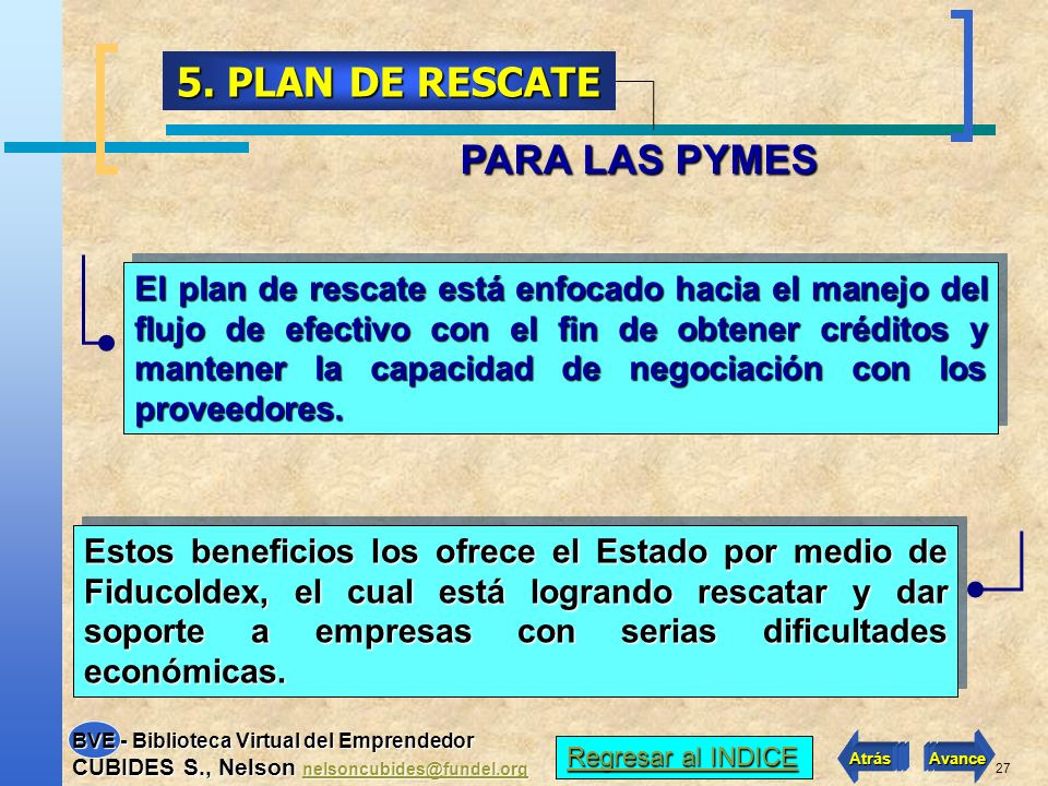 5. PLAN DE RESCATE PARA LAS PYMES