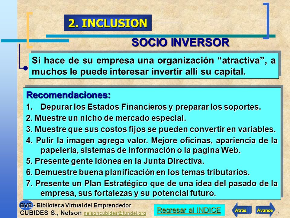 2. INCLUSION SOCIO INVERSOR
