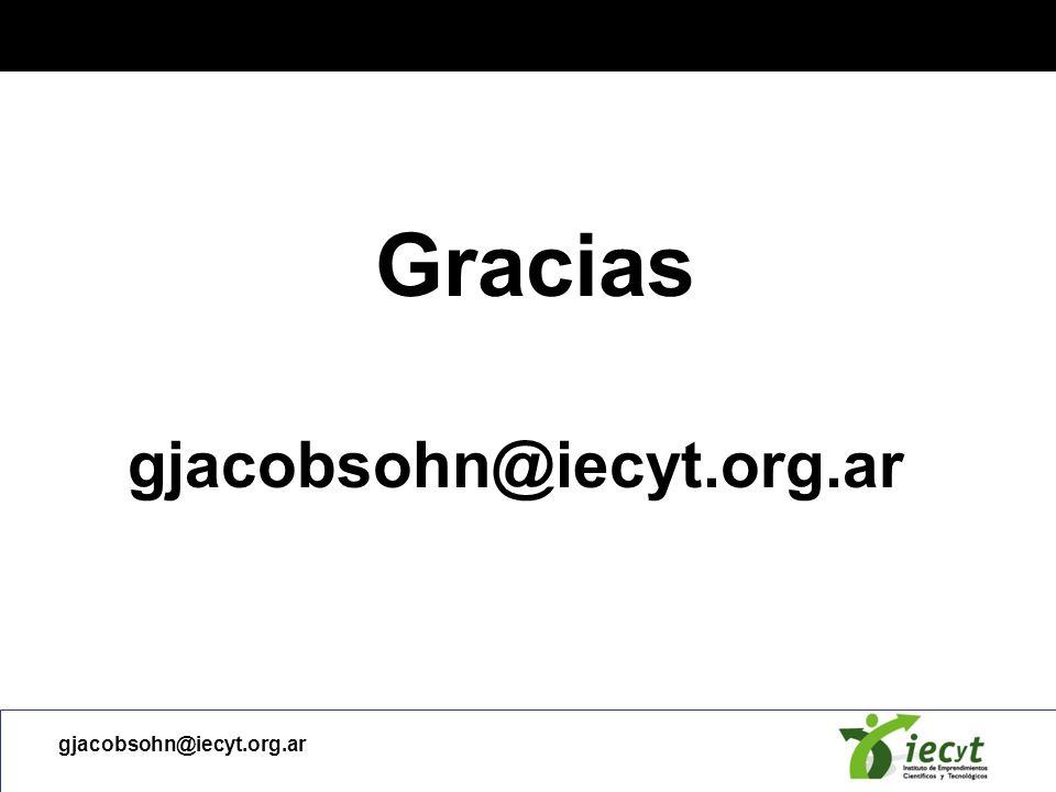 Gracias gjacobsohn@iecyt.org.ar