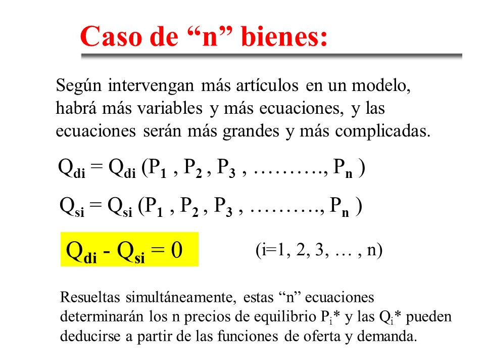 Caso de n bienes: Qdi - Qsi = 0 Qdi = Qdi (P1 , P2 , P3 , ………., Pn )
