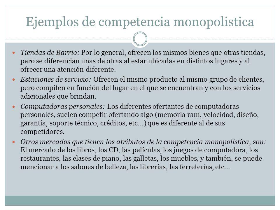 Ejemplos de competencia monopolistica