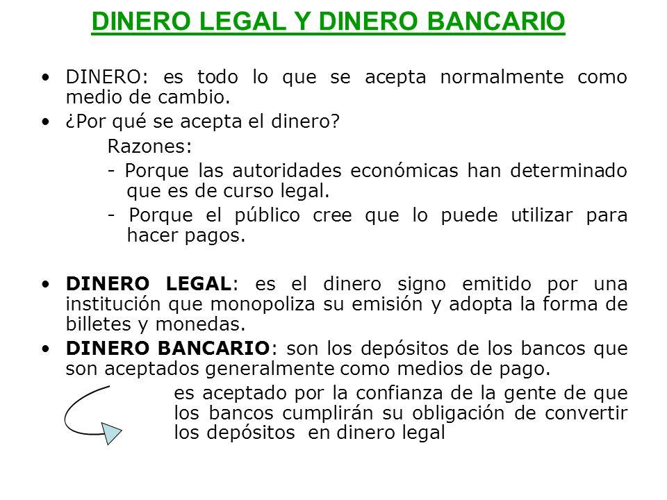 DINERO LEGAL Y DINERO BANCARIO