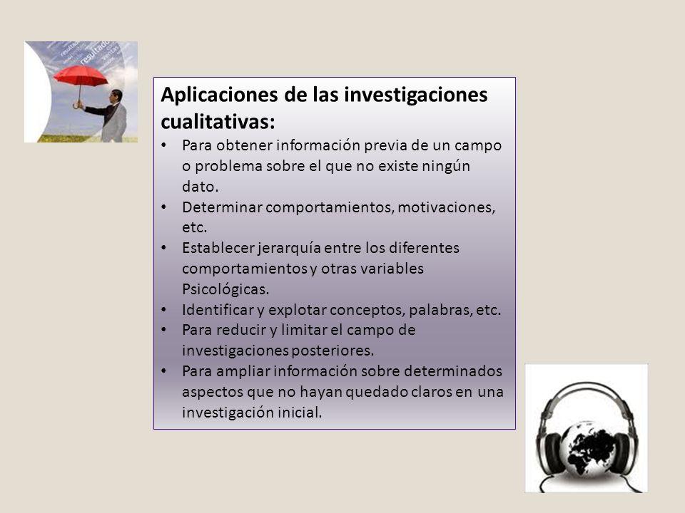 Aplicaciones de las investigaciones cualitativas:
